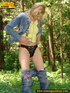 Sexy blonde wearing blue denin and black panties…