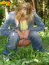 Sexy blonde wearing blue denin and black panties…