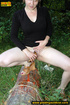 Naughty chick pisses on a tree before playing with…
