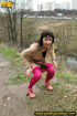 Brunette has no problem exposing her tush outdoors to take a piss in nature