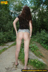Girl taking a walk decides to strip off to piss on a concrete part of