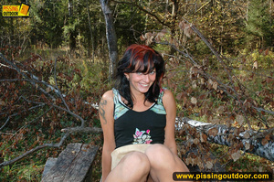 Girl spreads her cute legs wide open to expose pussy and piss free in the woods - XXXonXXX - Pic 3