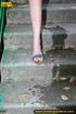 Hot chick raises short skirt to piss on steps…