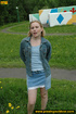 Hot young chick in public playground raise skirt…