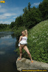 Hot blonde on nature stroll takes hot piss on…