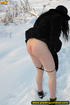 Lady in black coat and hat expose seductive ass and sprays hot pee on