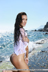 Cute aqua girl cools off as she displays her sweet…