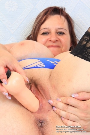 Cute momma with big bouncy tits opens up to reveal pussy as she sticks in dildo - XXXonXXX - Pic 12