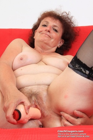 Horny grandma feeling naughty licks her tits, opens pussy and then sticks in dildo - XXXonXXX - Pic 2