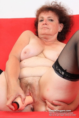 Horny grandma feeling naughty licks her tits, opens pussy and then sticks in dildo - XXXonXXX - Pic 3