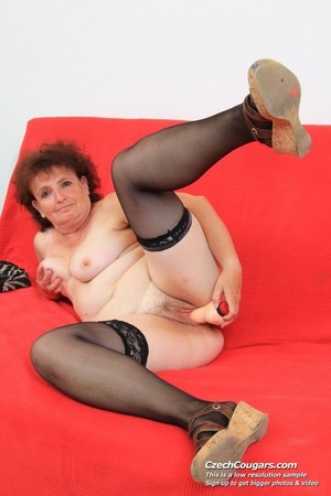 Horny grandma feeling naughty licks her tits, opens pussy and then sticks in dildo - XXXonXXX - Pic 6