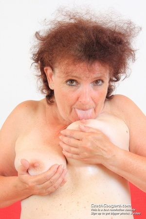 Horny grandma feeling naughty licks her tits, opens pussy and then sticks in dildo - XXXonXXX - Pic 9