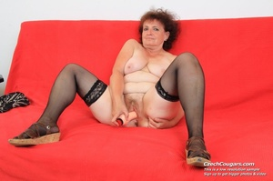 Horny grandma feeling naughty licks her tits, opens pussy and then sticks in dildo - XXXonXXX - Pic 10