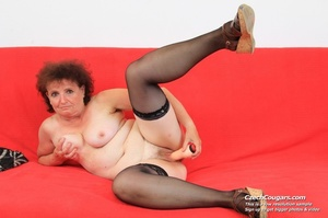 Horny grandma feeling naughty licks her tits, opens pussy and then sticks in dildo - XXXonXXX - Pic 15