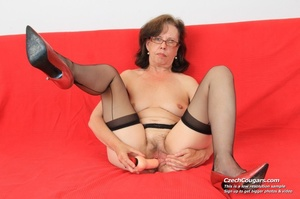 Matured chick in glasses shows hairy matured pussy, sucks dildo and puts in pussy - XXXonXXX - Pic 12