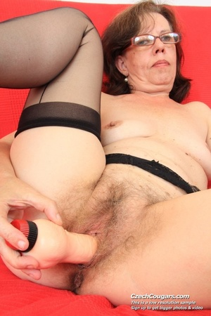 Matured chick in glasses shows hairy matured pussy, sucks dildo and puts in pussy - XXXonXXX - Pic 16