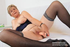 Slutty grandma with big tits feeling naughty opens and masturbates with sex toy - XXXonXXX - Pic 2