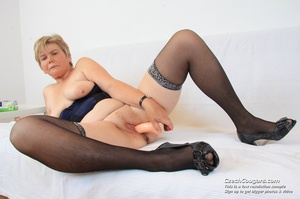 Slutty grandma with big tits feeling naughty opens and masturbates with sex toy - XXXonXXX - Pic 9