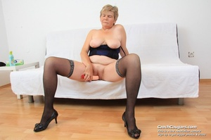 Slutty grandma with big tits feeling naughty opens and masturbates with sex toy - XXXonXXX - Pic 16