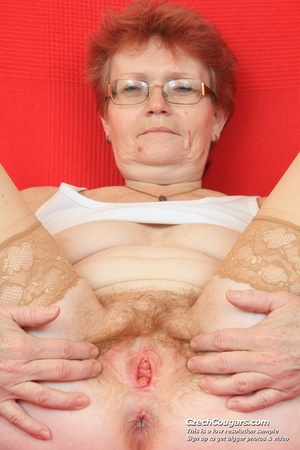 Red hair granny shows tits and hairy pussy before masturbating with long dildo - XXXonXXX - Pic 9