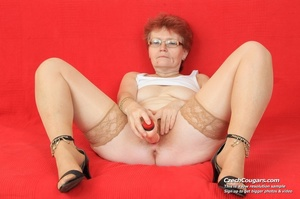 Red hair granny shows tits and hairy pussy before masturbating with long dildo - XXXonXXX - Pic 10