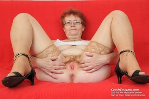 Red hair granny shows tits and hairy pussy before masturbating with long dildo - XXXonXXX - Pic 14