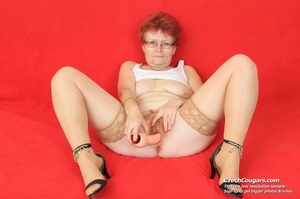Red hair granny shows tits and hairy pussy before masturbating with long dildo - XXXonXXX - Pic 16