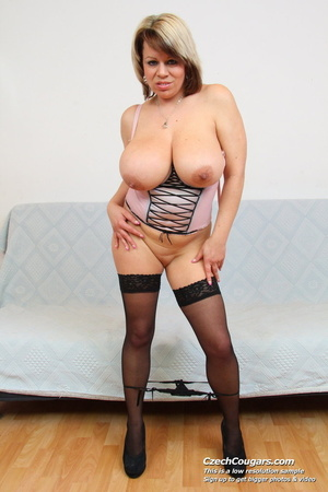 Naughty blonde mama with huge tits lick nipps and dildo and masturbates erotically - XXXonXXX - Pic 13