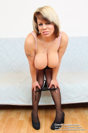 Naughty blonde mama with huge tits lick nipps and dildo and masturbates erotically - XXXonXXX - Pic 16
