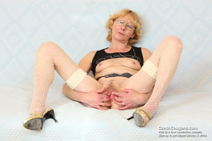 Matured mama show tits and pussy before masturbating with big dildo and fingers - XXXonXXX - Pic 14