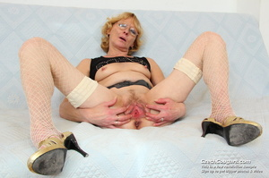 Matured mama show tits and pussy before masturbating with big dildo and fingers - XXXonXXX - Pic 15