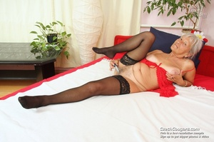 Slutty grandma feeling horny moans as she uses long dildo to masturbate pussy - XXXonXXX - Pic 1