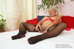 Slutty grandma feeling horny moans as she uses long dildo to masturbate pussy - XXXonXXX - Pic 8