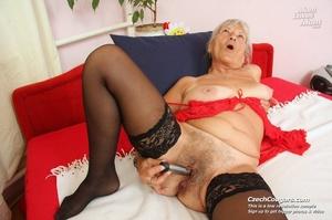 Slutty grandma feeling horny moans as she uses long dildo to masturbate pussy - XXXonXXX - Pic 9