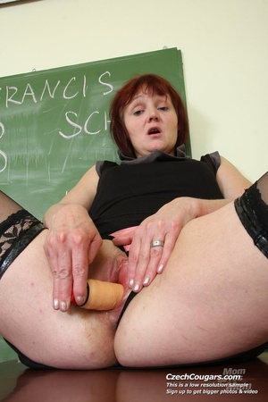 Hot naughty matured teacher strips in class to show ass and pussy and fuck dildo - XXXonXXX - Pic 2