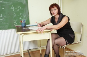 Hot naughty matured teacher strips in class to show ass and pussy and fuck dildo - XXXonXXX - Pic 7
