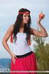 Hot caramel skin girl does outdoor fruit picking