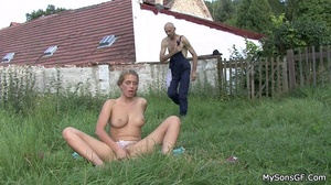 Horny dad pounding sons girlfriend's wet juicy pussy with a thick dildo outdoor. - XXXonXXX - Pic 7
