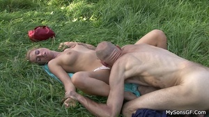 Horny dad pounding sons girlfriend's wet juicy pussy with a thick dildo outdoor. - XXXonXXX - Pic 9