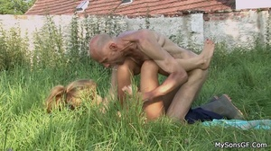 Horny dad fucking son's girlfriend wet juicy pussy wildly. - Picture 13