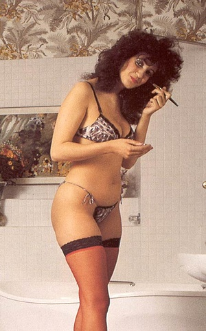 Hairy seventies lady in stockings enjoys - XXX Dessert - Picture 1