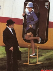 A retro flight attendant enjoys screwing - XXX Dessert - Picture 1