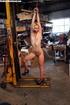 Innocent blonde sex-slave bondaged on a forklift…