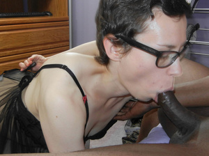 Slim white horny mama in glasses sucks and licks sweet black cock to orgasm - XXXonXXX - Pic 4