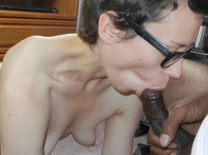Slim white horny mama in glasses sucks and licks sweet black cock to orgasm - XXXonXXX - Pic 6