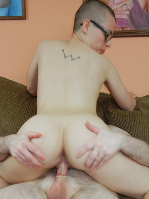 Short hair chick in glasses sucks hard cock and takes it hard in hairy wet pussy - XXXonXXX - Pic 5
