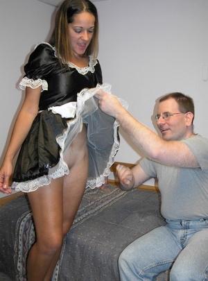 Cute petite chick dressed as a maid sucks dick and takes cock hard in pussy - XXXonXXX - Pic 1