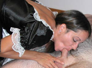 Cute petite chick dressed as a maid sucks dick and takes cock hard in pussy - XXXonXXX - Pic 2