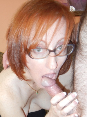 Slutty matured redhead in glasses takes cock in mouth and bends over for doggy - XXXonXXX - Pic 1