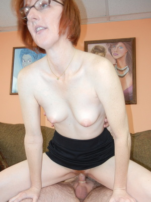 Slutty matured redhead in glasses takes cock in mouth and bends over for doggy - XXXonXXX - Pic 4